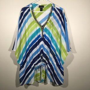 Lane Bryant Sheer Multi Color Stripe Blouse.